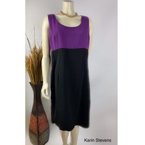 KARIN STEVENS PURPLE BLACK SLEEVELESS MIDI DRESS